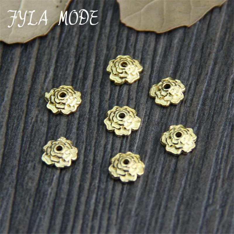 925 Silver Bead Gold Color Receptacle Flower Torus Loose Spacer Caps  Diy Handmade Craft Sterling Jewelry
