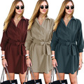 2016 Autumn 3/4 Sleeves Ladies Stylish Casual Trench European/African Style Dark Green Women Windbreaker Plus Size Female