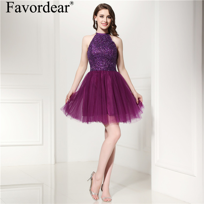 Favordear Halter Chiffon Formal Dress Lace Backless Cocktail Dresses 2018 Homecoming Dresses Sexy Cocktail Dresses