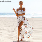 Save 18.34 on Boho Chic style Maxi dress women Off shoulder Beach Summer dress Floral print Chiffon White Long dress Vestidos de festa