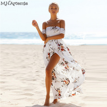 Boho Chic style Maxi dress women Off shoulder Beach Summer dress Floral print Chiffon White Long dress Vestidos de festa