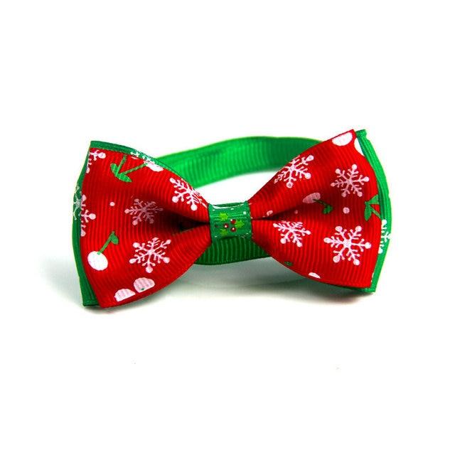 Christmas Holiday Dog Collar Bow Tie