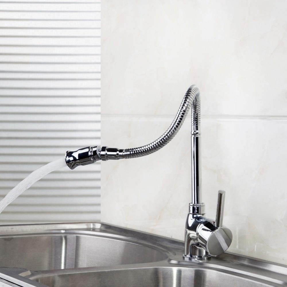 YANKSMART 360 Degree Swivel Spout Faucet Kitchen Sink Water Tap Deck Mounted Washbasin Mixer Tap Solid