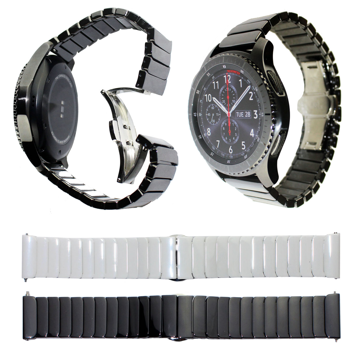 22mm Ceramic Watch Band for Samsung Gear S3 Frontier Strap Butterfly Buckle Wristband for Gear S3 Classic Smart Watch Bracelet crested sport silicone strap for samsung gear s3 classic frontier replacement rubber band watch strap for samsung gear s3