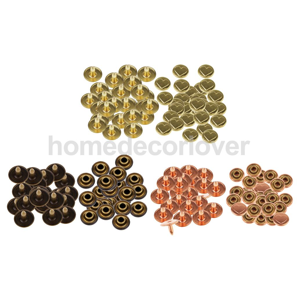 50 Sets Single Cap Rivets Round Heart Metal Leather Rivets for Rivet Replacement