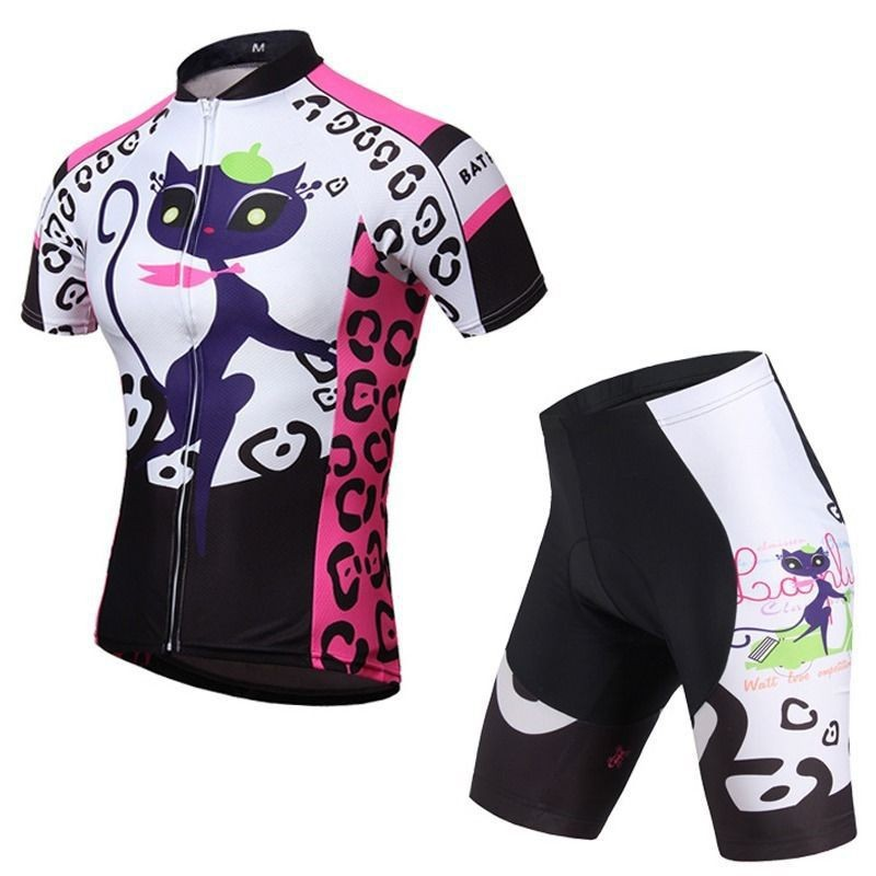 2015-Cat-girl-Cycling-Jersey-Bike-Bicycle-Clothing-Short-Sleeve-Suit-Pant-Sets-Quick-Dry