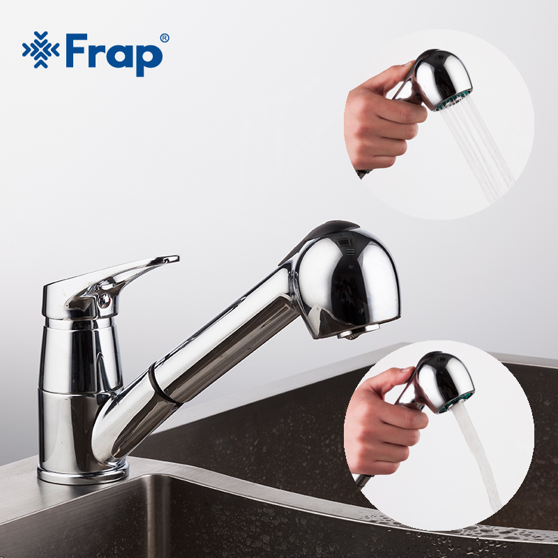 Frap New Modern Style Pull Out Kitchen Sink Faucet Cold And Hot Water Mixer Tap Torneira Single Handle Stretch Outlet Pipe