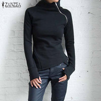ZANZEA Women Sweatshirts 2017 Autumn Casual Hoodies Long Sleeve Turtleneck Black Pullovers Zippers Blusas Plus Size