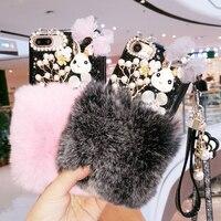Per il iphone 6 6 s 7 8 plus X Corea di Lusso Fashion Girl strass bling di scintillio del merletto arco della pelliccia del coniglio molle della cassa del telefono cordino