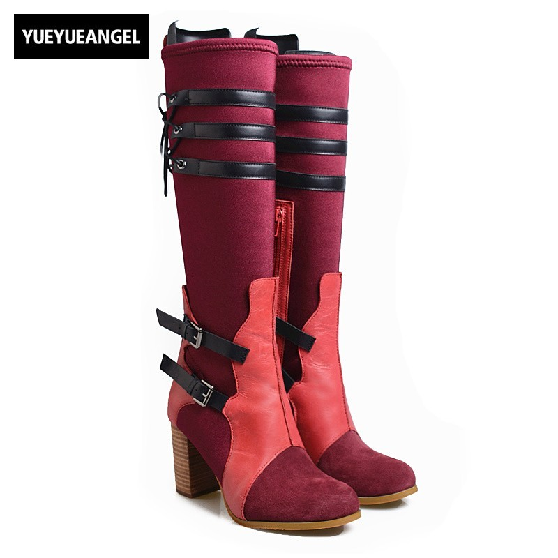 Winter High Heels Knee High Boots Women High Quality Leather Thick Heels Round Toe Long Boots Punk Belt Buckle Stretch Sock Bota women fashion boots round toe super high thick heels knee high buckle decoration ankle strap women snakeskin designer boots