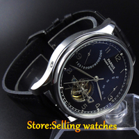 43mm Parnis Black Dial Date Power Reserve Seagull 2505 Automatic Mens Watch