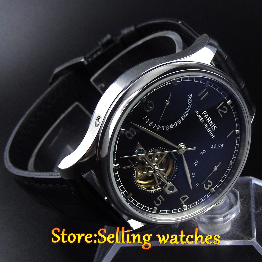 43mm parnis black dial date power reserve 2505 automatic mens watch 43mm parnis black dial power reserve automatic watch p001