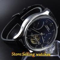 43mm parnis cadran noir date réserve de marche 2505 automatique mens watch