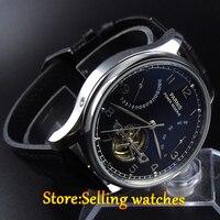 43mm parnis schwarzes zifferblatt datum power reserve 2505 automatische herren uhr-in Mechanische Uhren aus Uhren bei