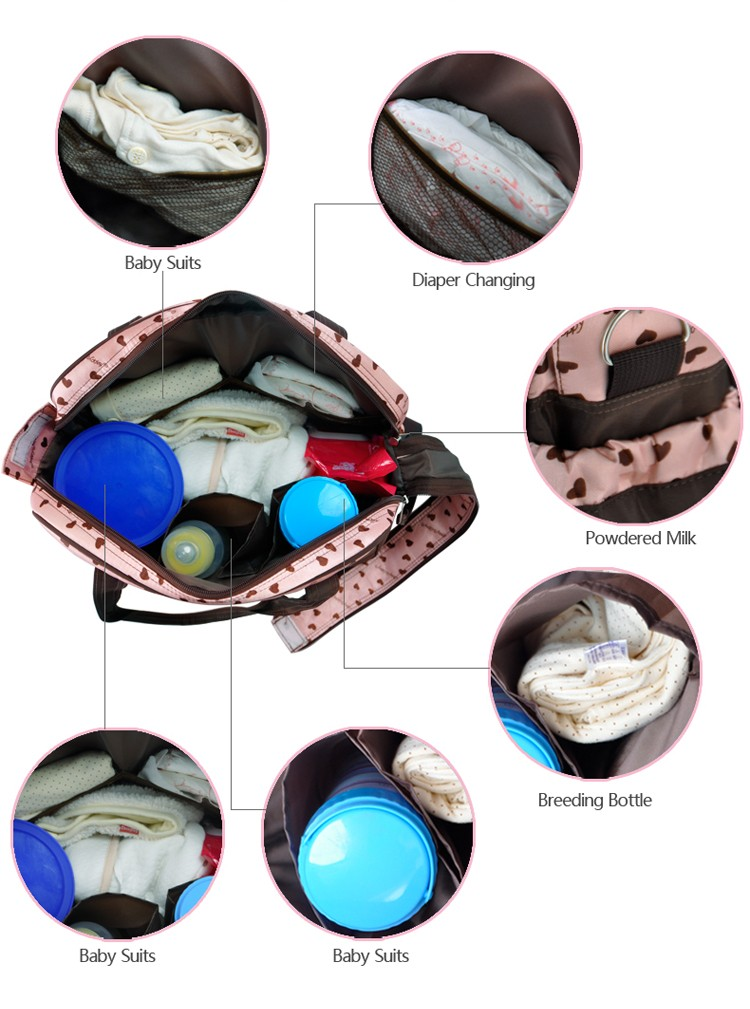 insular multifunctional diaper bags maternity mummy handbag baby care stroller bag High capacity mother Messenger nappy bags 9
