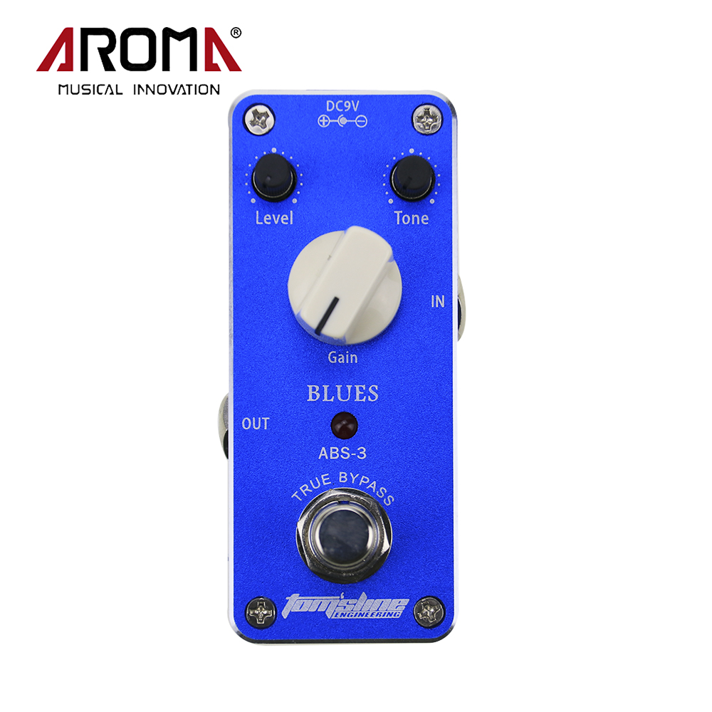 Aroma ABS-3 Aluminum Alloy Mini Blues Electric Distortion Guitar Effect Pedal Housing True Bypass aroma tom sline abr 3 mini booster electric guitar effect pedal with aluminum alloy housing true bypass durable guitar parts