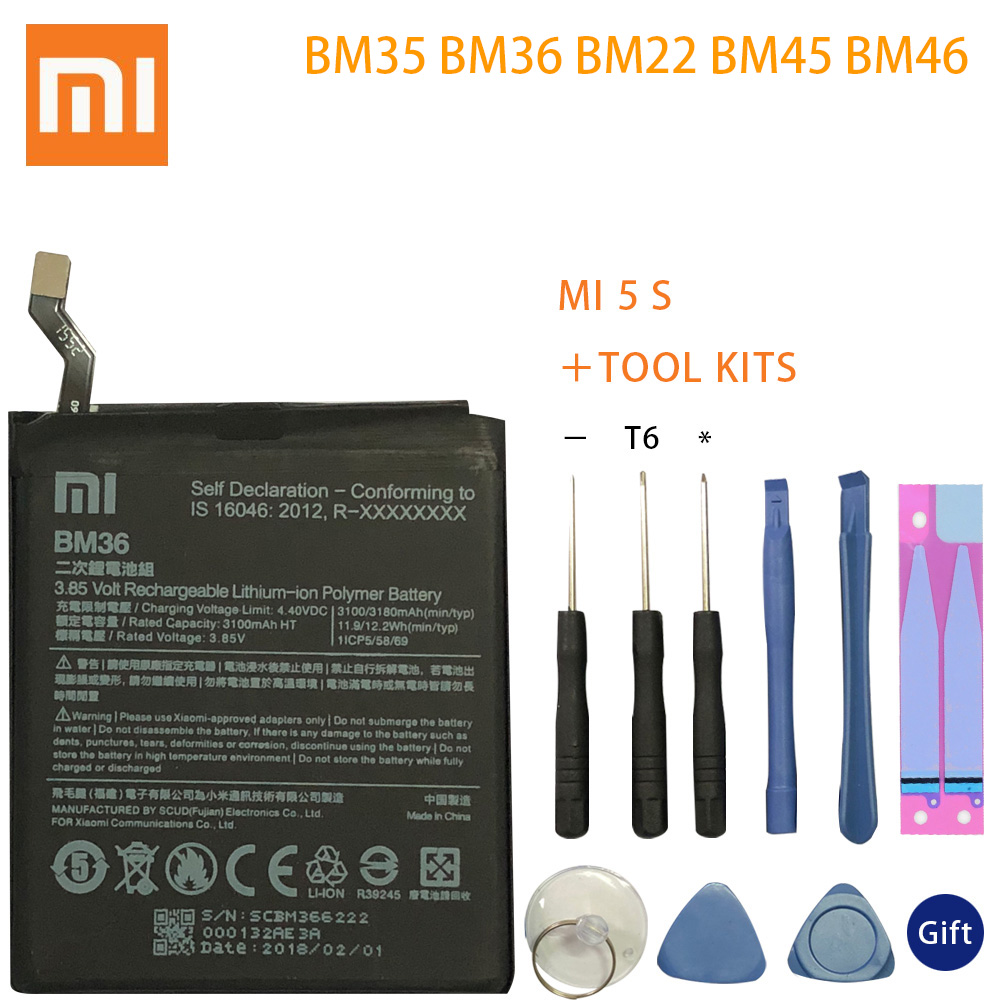 BM36 BM22 <font><b>BM35</b></font> BM45 BM46 Battery For Xiaomi Mi4C Mi5S Mi 5 4C 5S Mi5 Redmi Note 2 3 Pro Replacement Battery Batterie Free Tools image