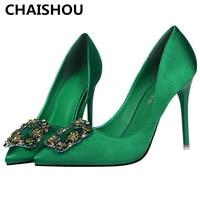 CHAISHOU Women 10cm Thin High Heels Fashion Pumps Pointed Green Rhinestone Silk Footwear Scarpins Shoes F 171