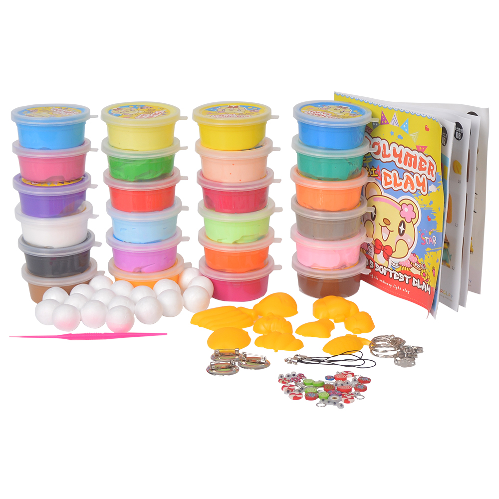 ФОТО JOY MAGS 24 Colors/box Soft Polymer Modelling Clay With Tools Play Dough Plasticine Silly Putty Birthday Gift