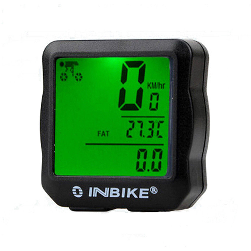 HLES INBIKE Waterproof Bicycle Cycling Bike Computer Speedometer Odometer LCD Backlight Light Colour:Green