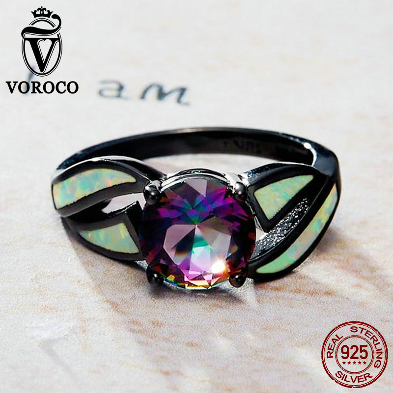 VOROCO Genuine 100% Authentic 925 Sterling Silver Rings Luxury Glass & Opal Gemstone Finger Black Ring for Women Jewelry VSR065