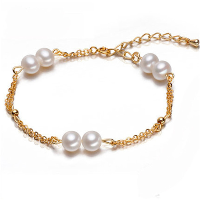 2016 Charm Bracelet Pearl Jewelry 925 Sterling Silver Bracelet & Bangles Natural Freshwater Pearl Bracelet For Women best gifts