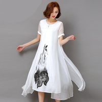 Fashion2017 New Summer Autumn White Black Ink Print Women Long Dress Retro Short Sleeve Cotton Linen
