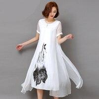 Fashion2017 New Summer Autumn White Black Ink Print Women Long Dress Retro Short Sleeve Cotton Linen