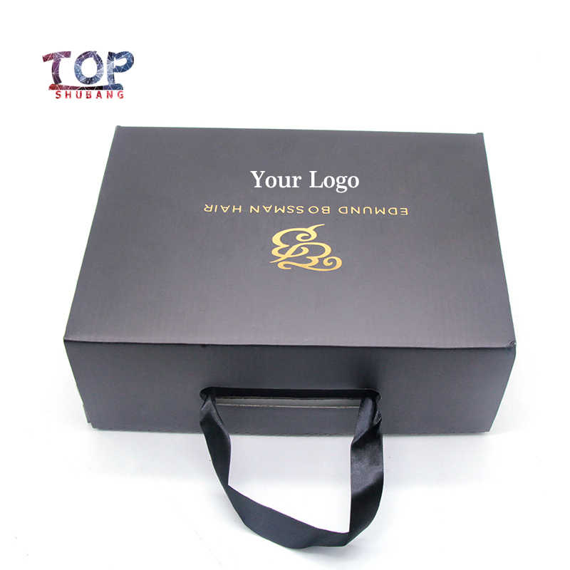 Customized Printed Logo Hair Packaging  Box Wig Hair Box Can Be Customized Logo Brand  Black/Brown/White Portable Rope Shoe Box