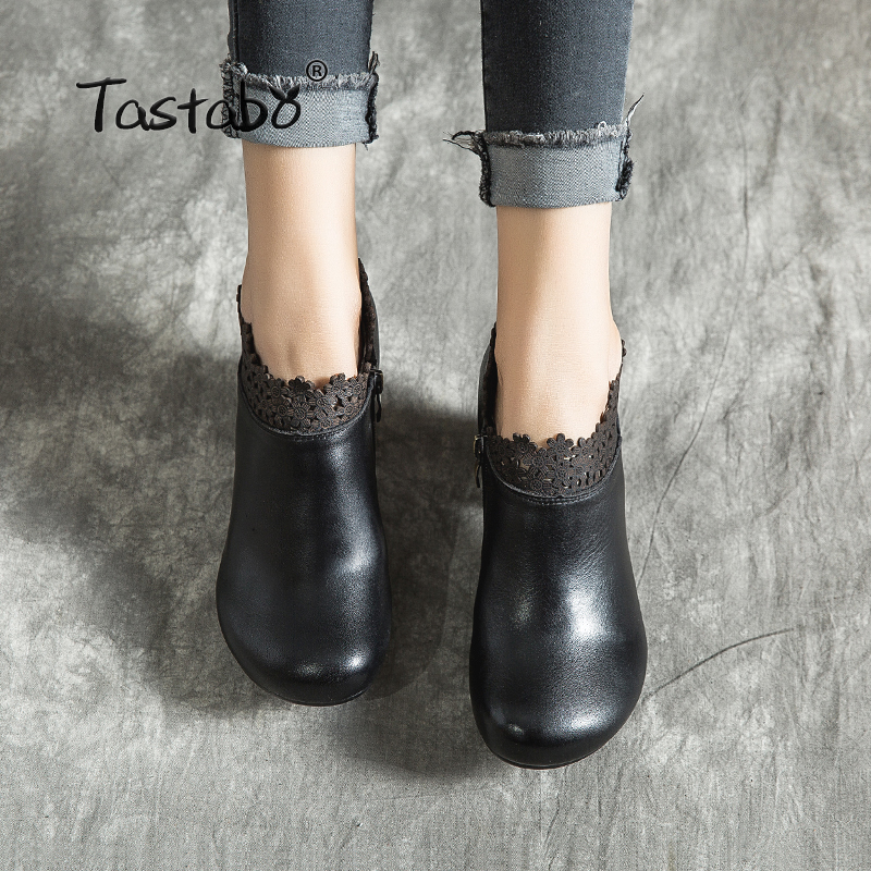 Tastabo high heel women's boots Black brown ladies shoes Comfortable casual shoes Handmade Characteristic flower design