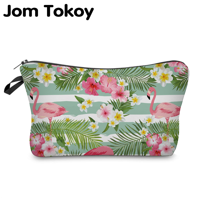 Jom Tokoy Cosmetic Organizer Bag Make Up Flamingo Heat Transfer Printing Cosmetic Bag Fashion Women Brand Makeup Bag