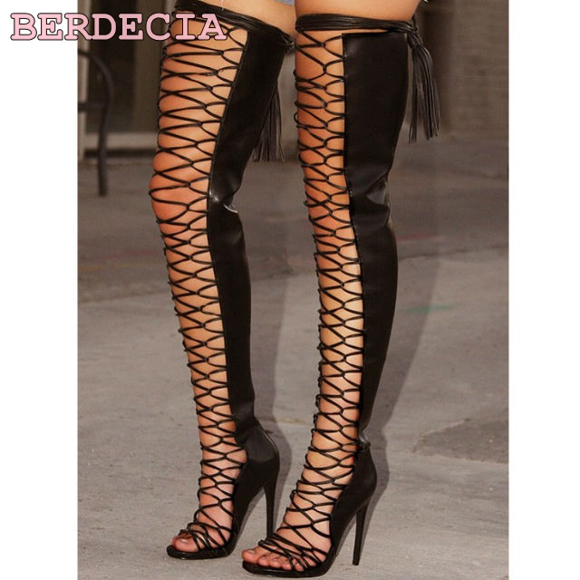 цены на Top selling Sexy black thigh high boots high quality lace up reticular open toe women tassel boots high heel sandal boots в интернет-магазинах