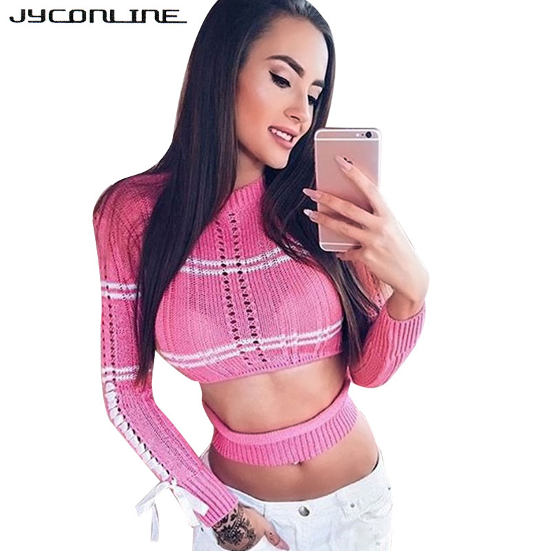 a1bedf6e50 JYConline Autumn Sexy Striped Pullover Sweater Lace Up Knitted Women  Sweater Cropped Female Pullover Tops Short Lady s Sweaters-in Pullovers  from Women s ...