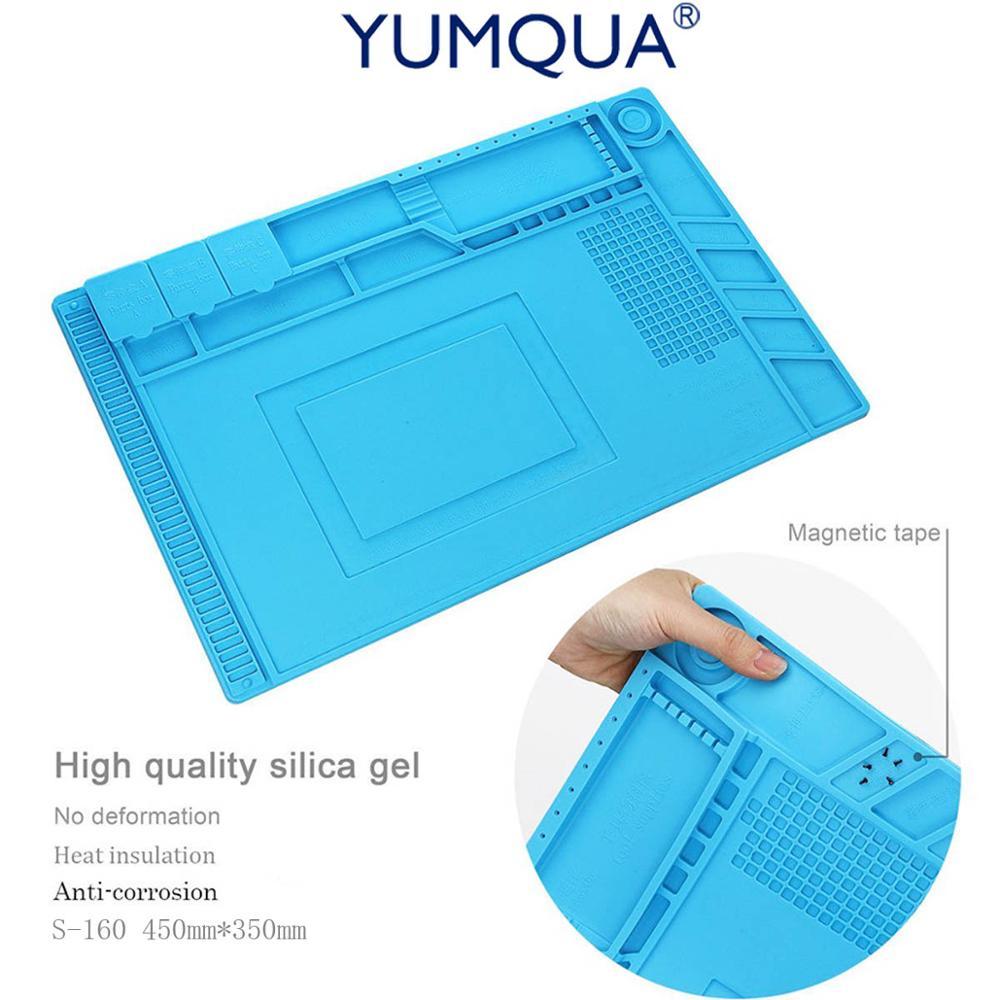 Yumqua антистатические магнитного Коврики для телефона ремонтные работы силиконовый коврик пайки нагревательный магнитная подушка Термовоз…