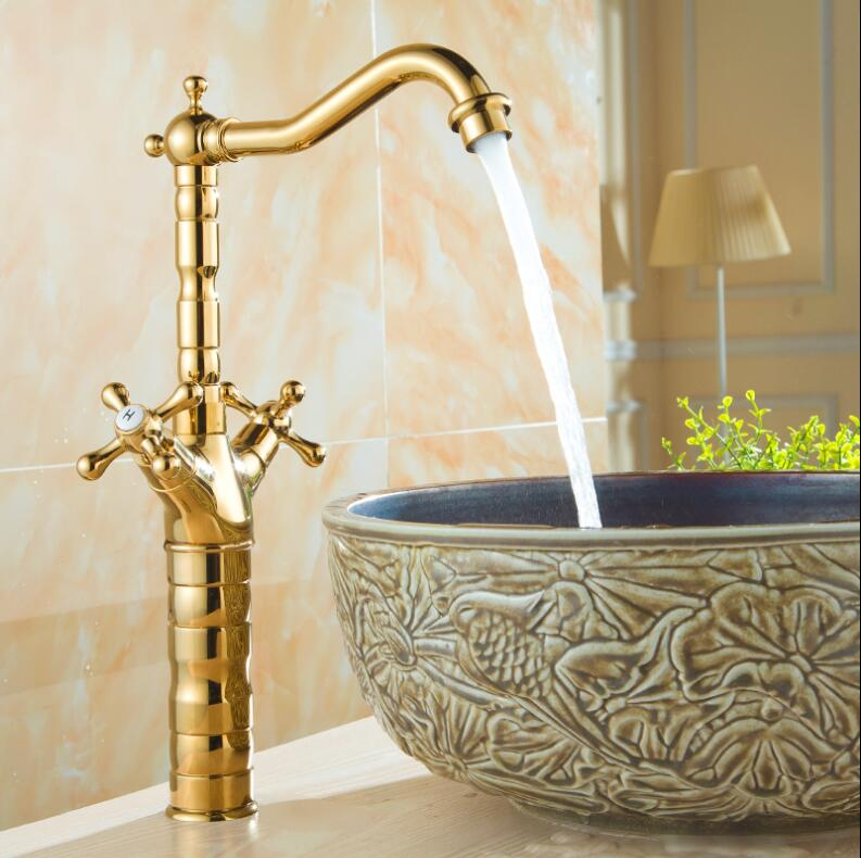 Basin Faucet Gold Brass Crane Bathroom Sink Faucet 360 Degree Swivel Dual Handle Kitchen Wash basin Mixer Taps antique bronze 360 degree swivel brass faucet bathroom basin sink mixer bath taps faucet dual cross head handle home decoration