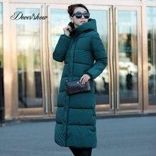 Красочные с капюшоном зимнее пуховое пальто куртка длинные толстые теплые для женщин Casaco Feminino Abrigos Mujer Invierno стеганый ватник мягкий мужские парки