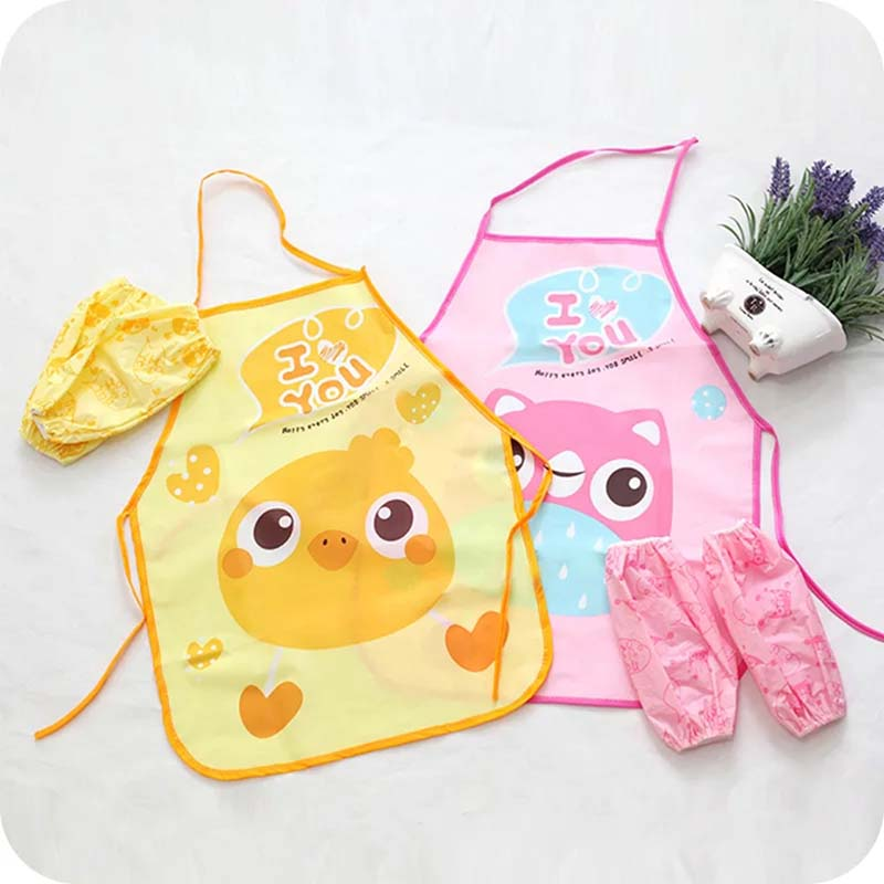 Aprons Hot Sale 2018 Cartoon Cute Childrens Apron Waterproof Creative Apron Sleeve Kitchen Suit Apron Kitchen Restaurant Aprons50*40cm Mild And Mellow Household Cleaning Protections