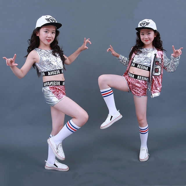 ee41d102c50d2 Nuevos niños Jazz Dance disfraces niñas calle baile lentejuelas mostrar ropa  moderna niño hip hop escenario