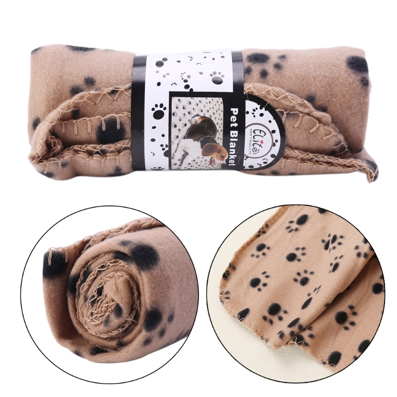Soft Fleece Puppy Dog Cat Sleep Blanket Pet Kennel Cover Cushionl With Paw Print