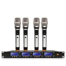 KTV Profissional Microfone sem fio UHF de Freqüência Ajustável Microfone de lapela Headset Sistema de Microfone Performance de Palco