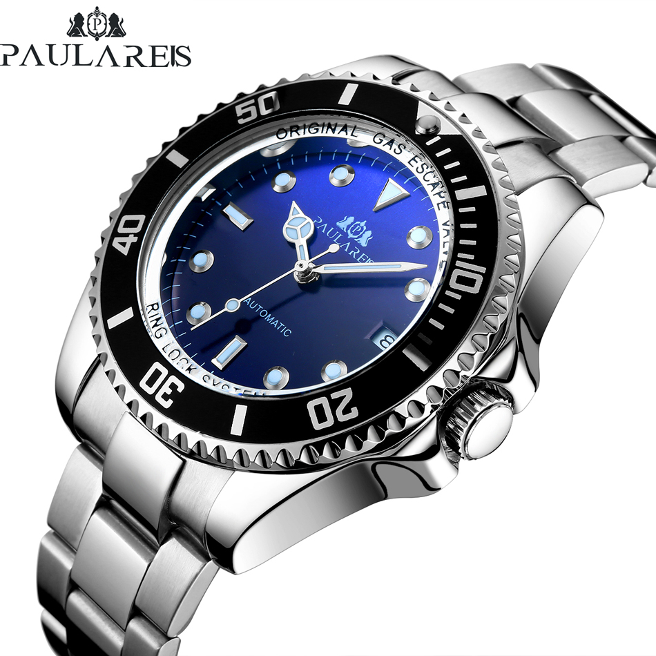Men automatic self wind mechanical stainless steel strap gold silver gradient black blue dial for Gradient dial watch