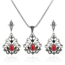 Купить с кэшбэком Bohemian Ethnic Antique Silver Color Luxury Crystal Beads African Jewelry Set Necklaces & Pendants Womens Jewellery Bijoux Femme