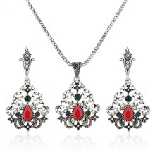 Bohemian Ethnic Antique Silver Color Luxury Crystal Beads African Jewelry Set Necklaces & Pendants Womens Jewellery Bijoux Femme(China)