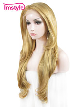Synthetic lace front wig Imstyle Wavy Blonde color 26 inches fake hair wigs for women