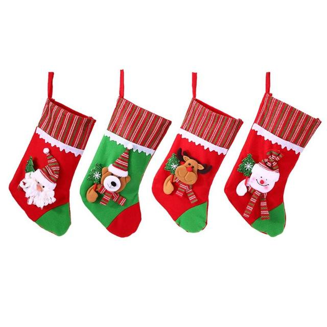 christmas decoration large gift bags decorated christmas socks gift bags large christmas stocking xmas tree hanging - Large Christmas Stocking