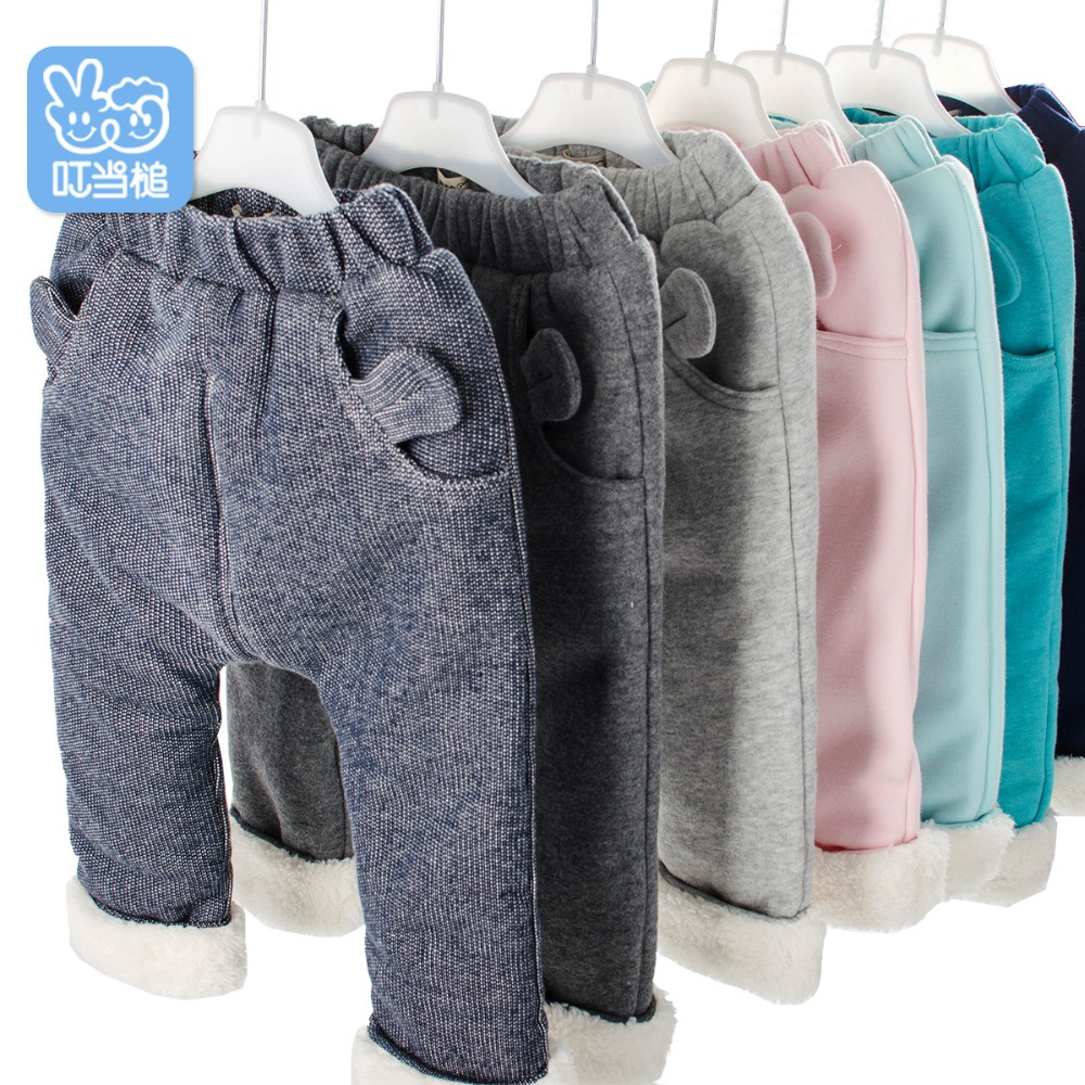 Boys And Girls Pants Winter Children's Plus Thick Velvet Pants Casual Trousers Warm  Baby Casual Pants