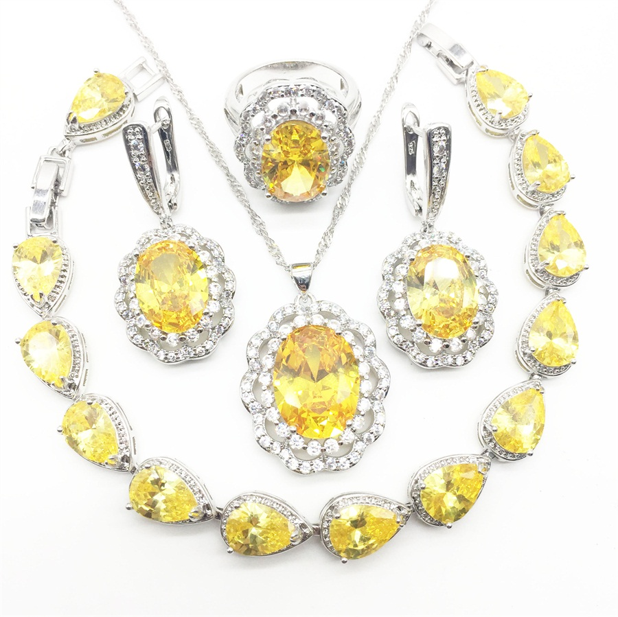Yellow Zircon Costume Silver 925 Jewelry Sets Women Pendant&Necklace Ring Earrings With Natural Stones Bracelets Jewelery