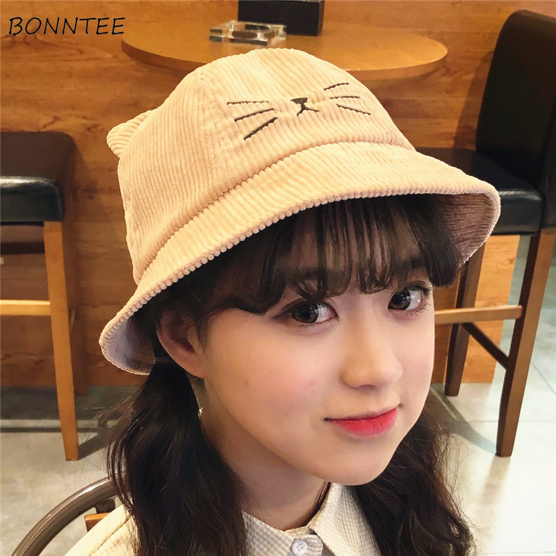 Bucket Hats Women Harajuku Cat Ears Kawaii Embroidered Corduroy Japanese Style Retro Fisherman Hat Womens All-match Trendy Chic