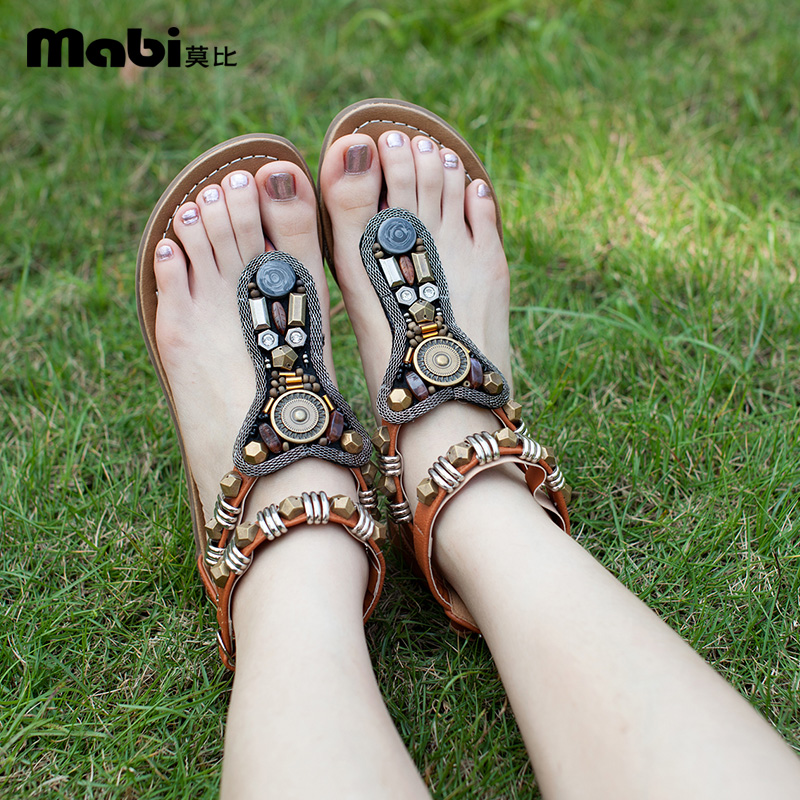 Sandals Bohemian Beading Famous-Brand Rivets Ankle-Strap Summer Shoes Double-Belt Flat