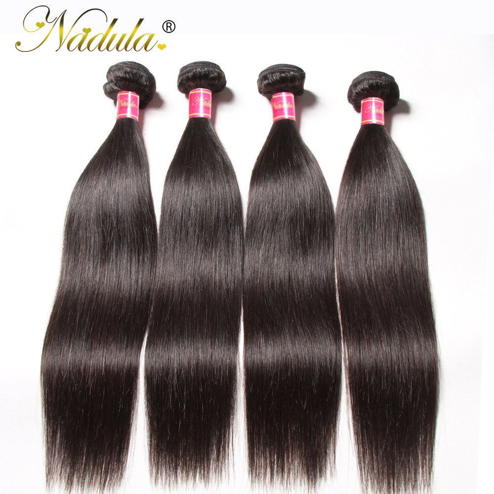 Nadula Hair 1pcs / 3Bundles / 4 Bundles Malaysian Straight Hair 100% - ადამიანის თმის (შავი) - ფოტო 3